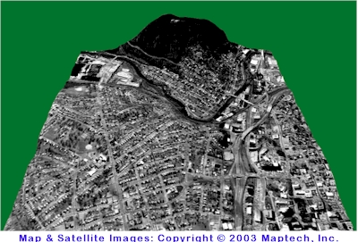 3-D satellite image overlaid on topographic mapping of downtown Roanoke, Virginia looking south. Maps Copyright 2003 by MapTech, Inc.