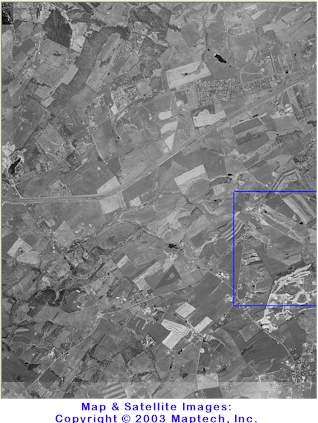 Overhead satellite image of the Riner and Christiansburg areas, Virginia. Maps Copyright 2003 by MapTech, Inc.