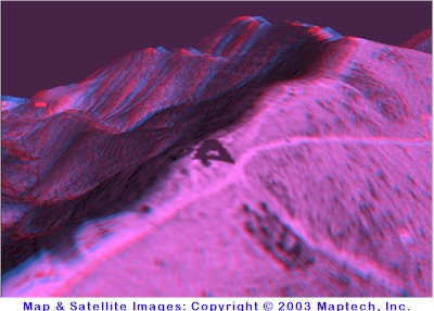 3-D glasses view of satellite image overlaid on topographic mapping of the Riner/Christiansburg, Virginia area. Maps Copyright 2003 by MapTech, Inc.